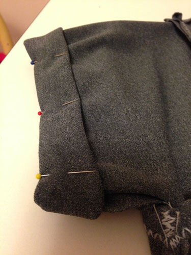 Pinning the sleeve cuffs