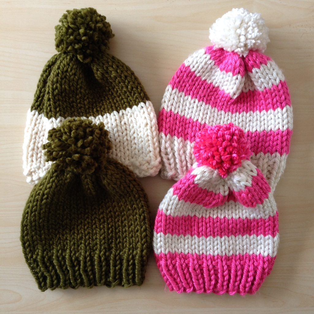 4 variations of classic pom-pom beanies in various colors
