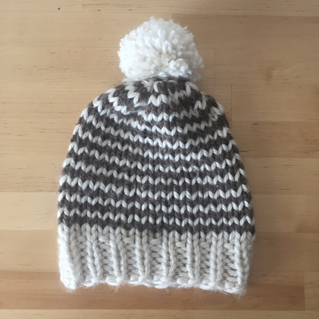 Classic Pom-Pom Beanie in a skinny striped pattern