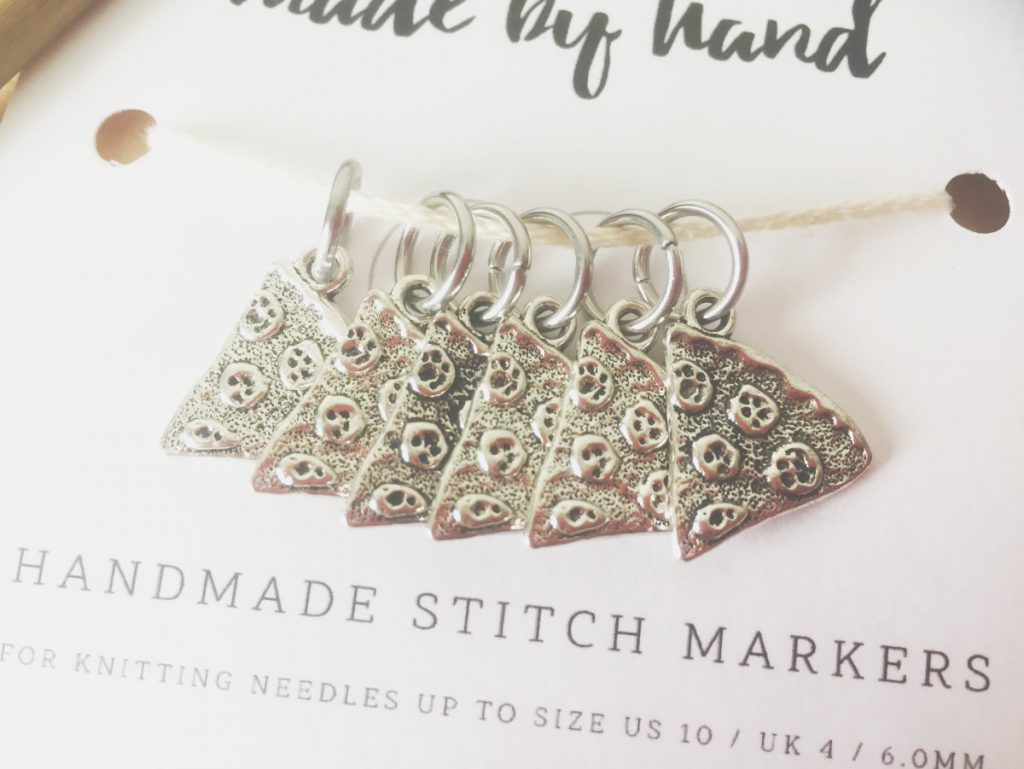 Pizza slice knitting stitch markers
