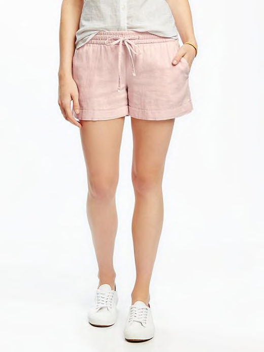 Blush pink linen shorts from Old Navy