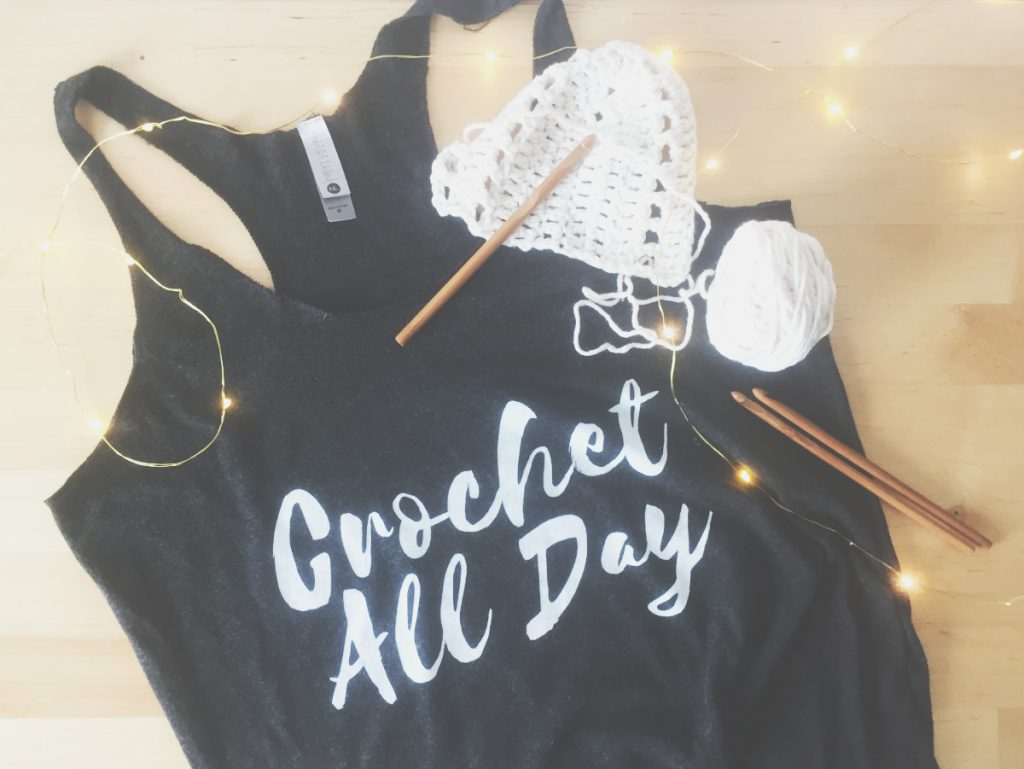 Crochet All Day ladies racerback tank top