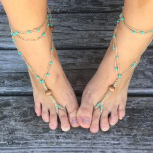 Horizon Barefoot Sandals, macrame beaded accessory