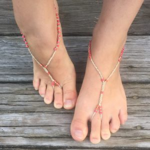 Meridian Barefoot Sandals, macrame beaded accessory