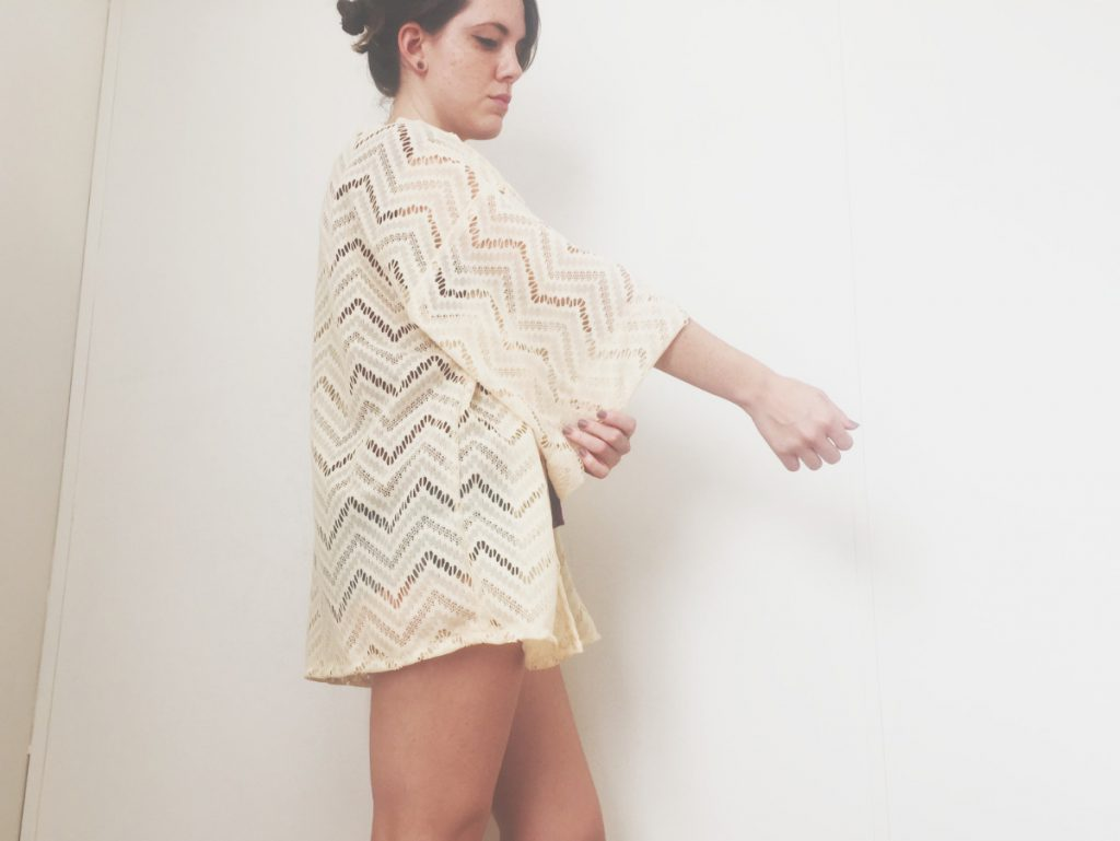 Side view of kimono cardigan