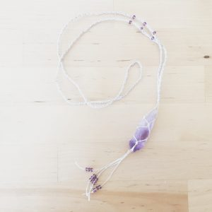 Amethyst point net necklace