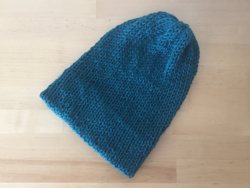 Super Slouch Beanie with no pom pom in color Ocean