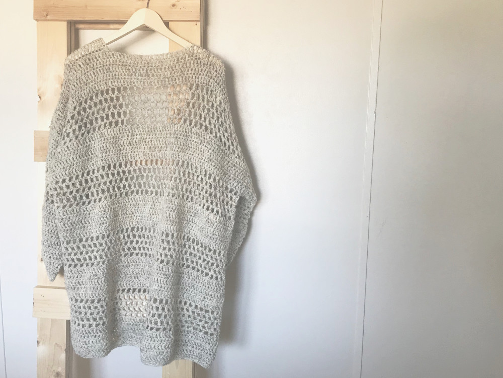 Hemlock Cardigan crochet pattern - back of sweater