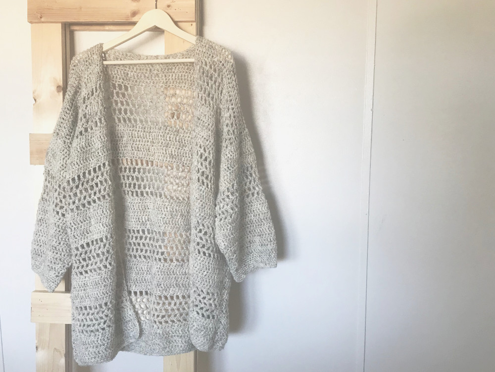 Hemlock Cardigan crochet pattern - front of sweater