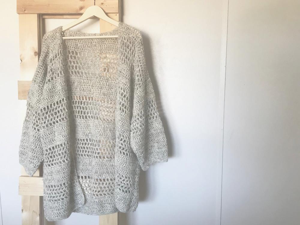 Hemlock Cardigan crochet pattern - front of sweater